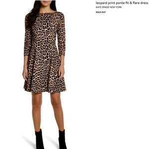 NWT KATE SPADE Leopard Print Ponte Fit/Flare Dress